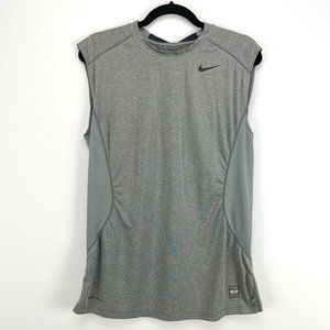 Nike Combat Dri Fit Mens Fitted Gray Active Tank